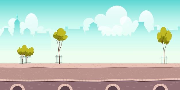 Letnia Promenada Rzeczna Lub Most Z Zielonymi Drzewami Darmowych Wektorów
