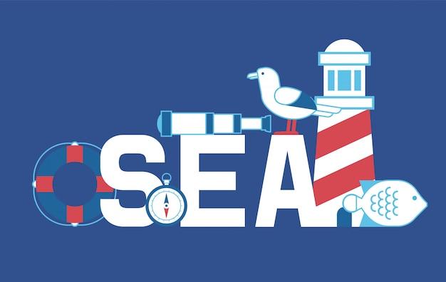 Letnia przygoda morska. latarnia morska, kompas, luneta, mewy, ryby i zycie. Premium Wektorów