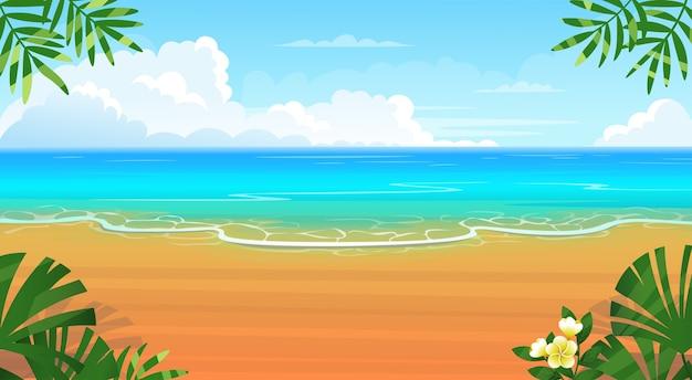 Letnia Tropikalna Plaża Z Leżakami, Stołem Z Koktajlami, Parasolem, Górami I Wyspami. Premium Wektorów