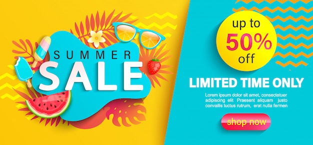 Letnia Wielka Wyprzedaż Banner, Do 50% Zniżki Na Czas, Promocja, Promocja W Gorącym Sezonie Premium Wektorów