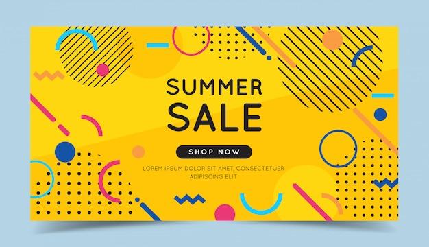 Letnia wyprzedaż kolorowy transparent z modnymi abstrakcyjnymi elementami geometrycznymi i jasnym tłem. Premium Wektorów