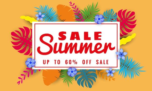 Letnia Wyprzedaż Styl Cięcia Papieru, Szablon Banner Do Sprzedaży Sezonowej Z Tropikalnymi Liśćmi Kwiatów Tła, Kolor Egzotyczny Kwiatowy Wzór Transparentu Premium Wektorów