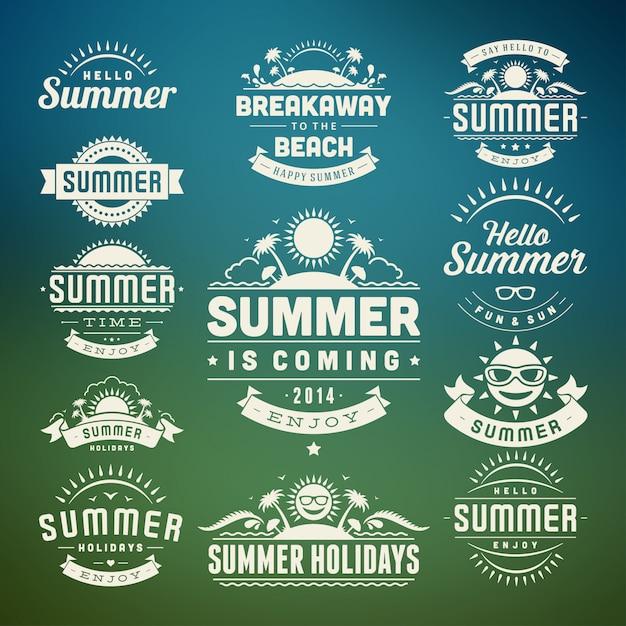 Letnie elementy i symbole typograficzne etykiety i odznaki Premium Wektorów