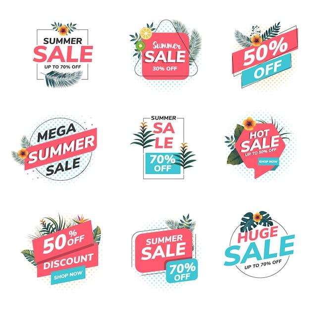 Letnie Etykiety Sprzedaży Origami Premium Wektorów