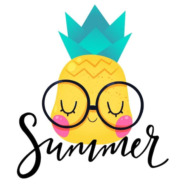 Letnie Odręczne Litery Ze Słodkim Ananasem Premium Wektorów