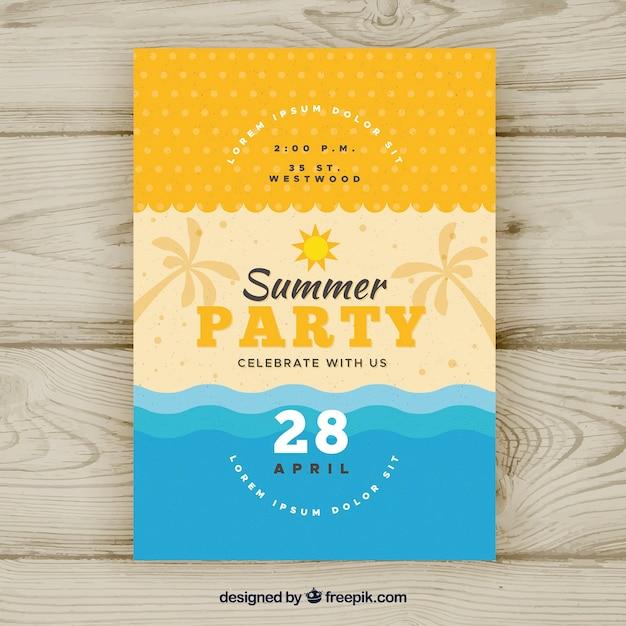 Letnie party plakat Darmowych Wektorów