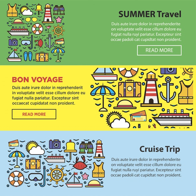 Letnie podróże i wakacje nad morzem Premium Wektorów