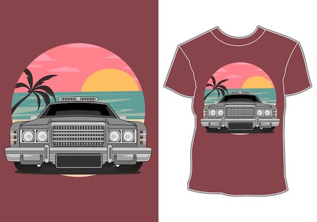 Letnie Projekty Koszulek I Klasyczne, Retro, Samochody Vintage Premium Wektorów