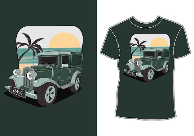 Letnie Samochody Na Plaży, Koszulki Z Motywem Samochodowym I Letnie Wakacje Premium Wektorów