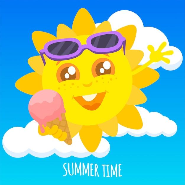 Letnie słońce trzyma lody Premium Wektorów