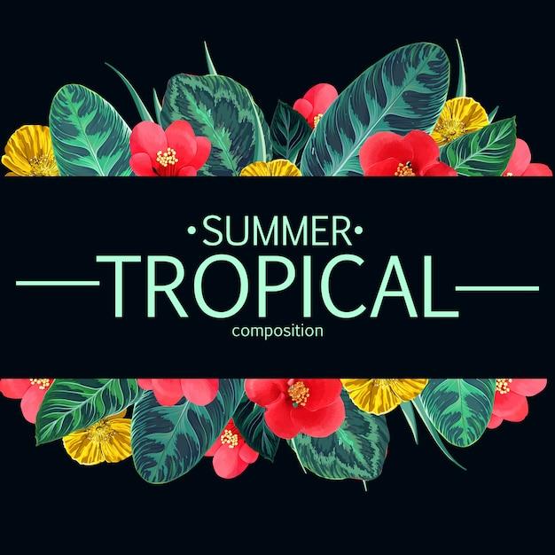 Letnie Tropikalne Kwiaty I Liście Ramki. Hawajski Motyw Kwiatowy Premium Wektorów