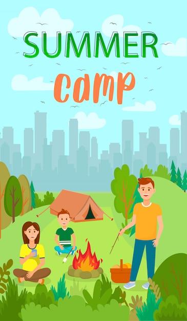 Letnie wakacje, camping płaskie ulotki z napisem. Premium Wektorów