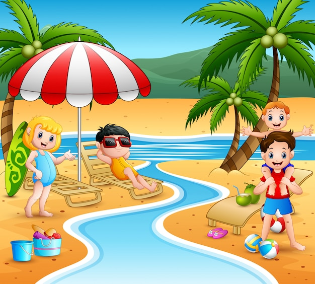 Letnie Wakacje Dzieci Na Plaży   Premium Wektor