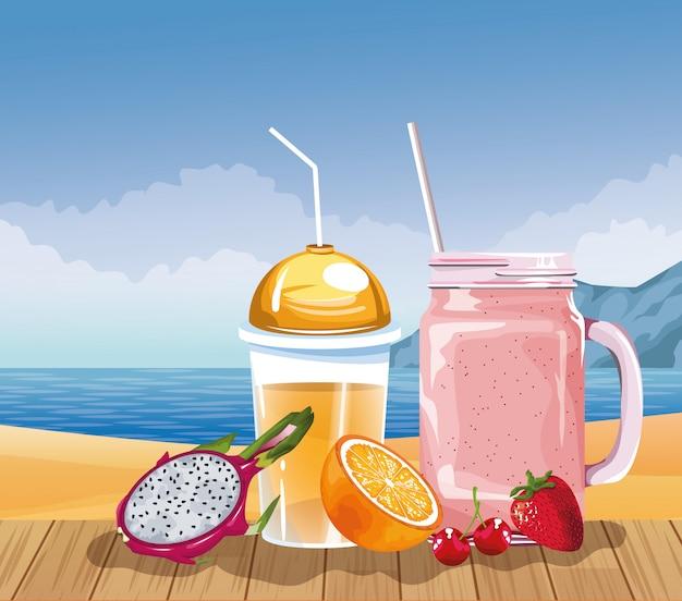 Letnie wakacje i plaża w stylu kreskówki Darmowych Wektorów