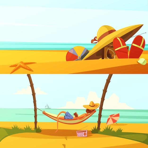 Letnie wakacje kreskówka poziomy tła zestaw z plaży nosi i ilustracji wektorowych na białym tle sprzętu Darmowych Wektorów