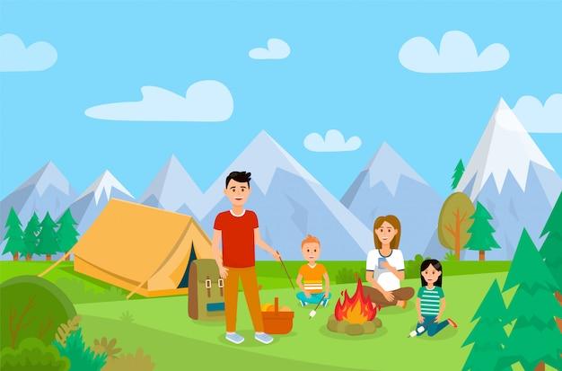Letnie wakacje na charakter ilustracja kreskówka. Premium Wektorów