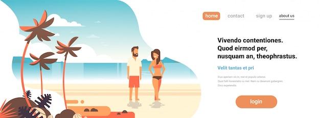 Letnie wakacje na stronie docelowej plaży Premium Wektorów