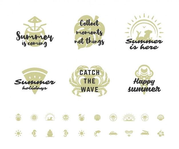 Letnie Wakacje Typografia Inspirujące Cytaty Premium Wektorów