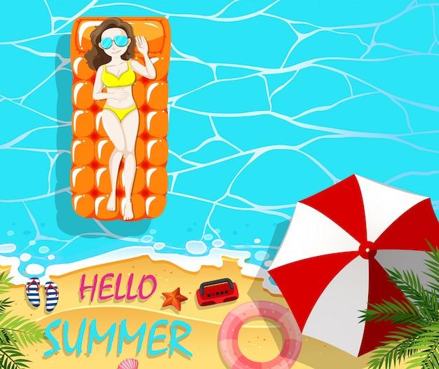 Letnie wakacje z kobietą na pływającej tratwie Darmowych Wektorów