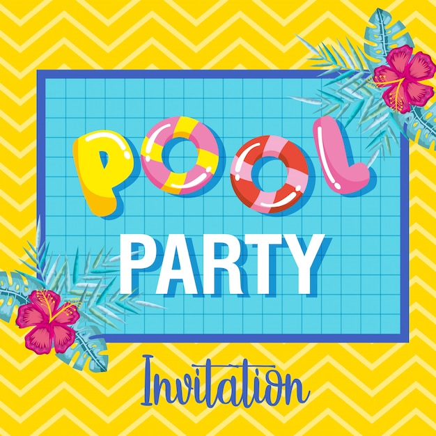 Letnie zaproszenie na przyjęcie przy basenie Premium Wektorów