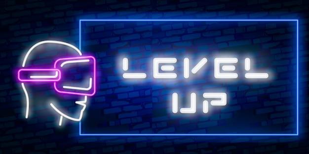 Level Up Neon Text Premium Wektorów