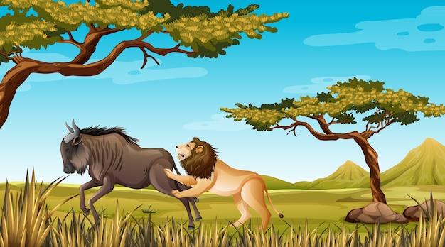 Lew I Gnu W Tle Przyrody Darmowych Wektorów