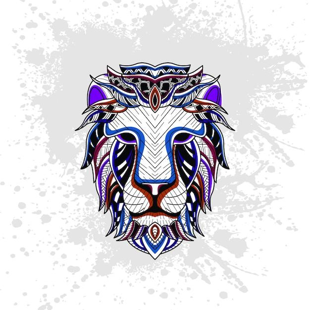 Lew Z Abstrakcyjny Wzór Dekoracyjny Premium Wektorów