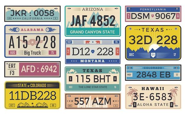 Licencja Na Tablice Rejestracyjne. Utah Usa Lub Indiana Różnego Stanu Samochodu Rejestracji Szablonu Wektorowy Projekt Premium Wektorów