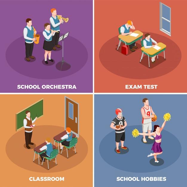 Liceum Ze Studentami I Ich Różne Działania Ilustracyjne Darmowych Wektorów