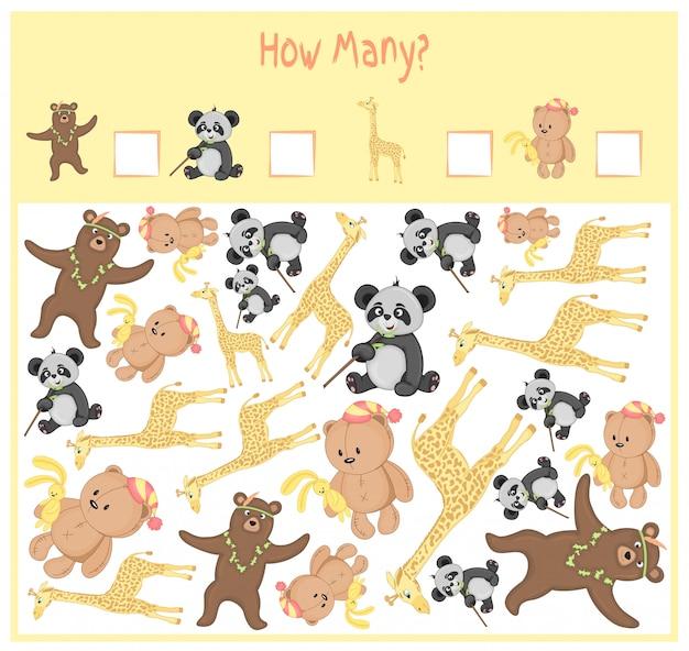 Licząca gra dla dzieci w wieku przedszkolnym. matematyczna gra edukacyjna. policz, ile przedmiotów i napisz wynik. dzikie i domowe zwierzęta. Premium Wektorów