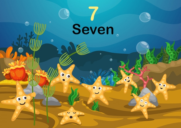 Liczba siedem gwiazda ryba pod dennym wektorem Premium Wektorów