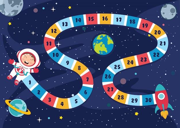 Liczby Boardgame Ilustracja Do Edukacji Dzieci Premium Wektorów