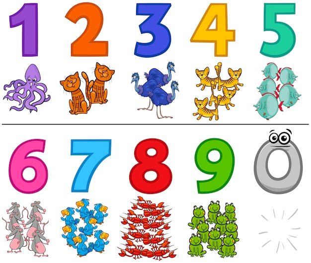 Liczby edukacyjne od jednego do dziewięciu ze zwierzętami Premium Wektorów