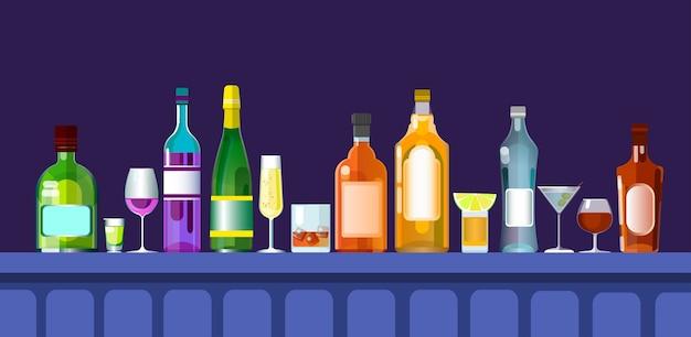 Licznik baru z kieliszkami alkoholu Premium Wektorów