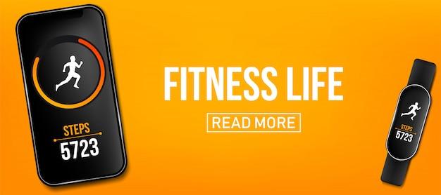 Licznik fitness działa aplikacja banner, bransoletka na rękę Premium Wektorów