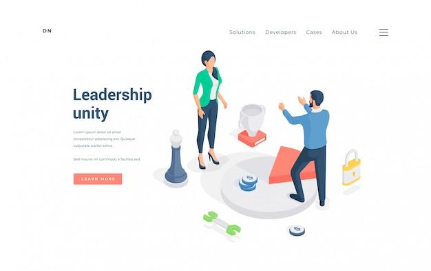 Liderzy Biznesu Jednoczący Się W Pracy. Izometryczne Ilustracji Premium Wektorów