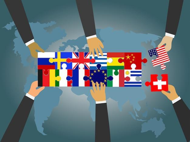 Liderzy krajów na całym świecie łączą układankę z flagą narodową. Premium Wektorów