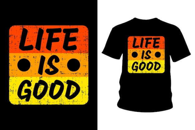 Life Is Good Slogan T-shirt Design Typografii Premium Wektorów