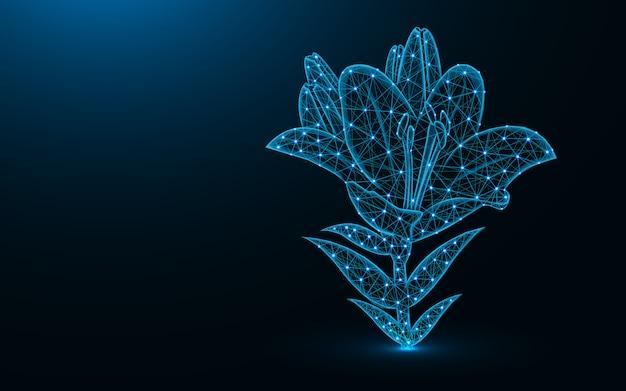 Liliowy kwiat w stylu low poly Premium Wektorów