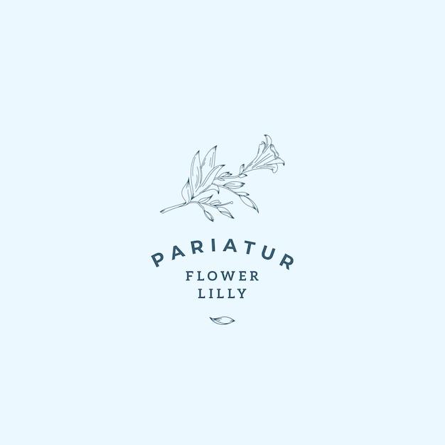 Lilly Kwiat Streszczenie Wektor Znak, Symbol Lub Szablon Logo. Premium Wektorów