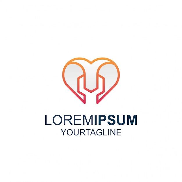 Line Art Love Tool Niesamowite Logo Inspiracji Premium Wektorów