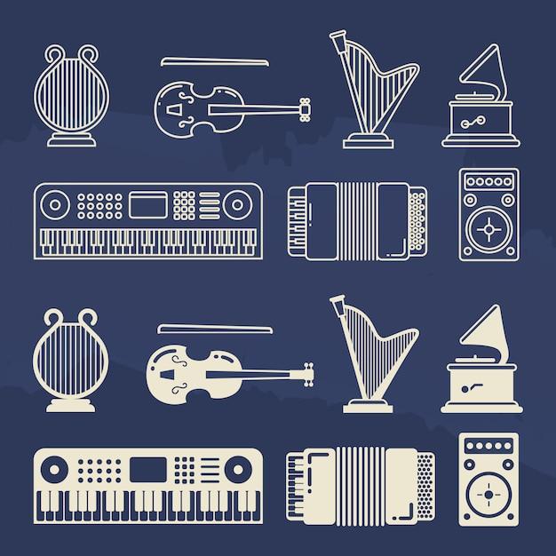 Linia I Sylwetka Klasyczne Ikony Instrumentów Muzycznych Premium Wektorów