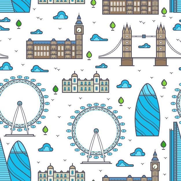 Linia londyn mosty, sylwetki na tle nieba i zabytki szwu Premium Wektorów