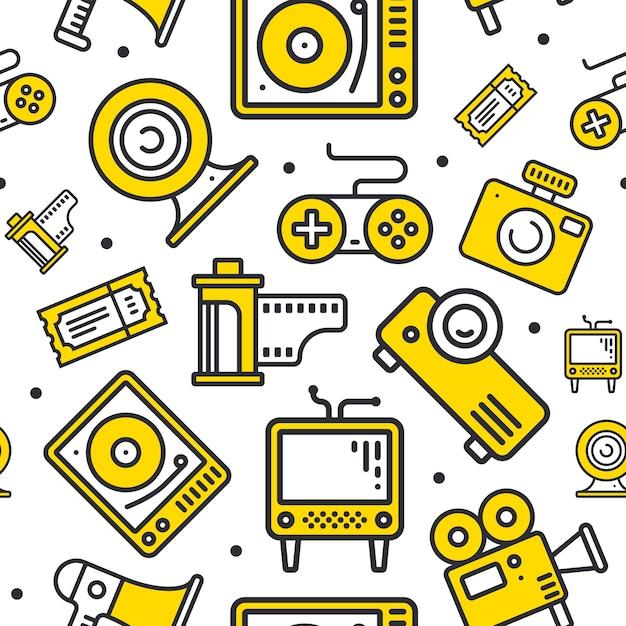 Linia Multimedialna Ikony Wzór. Premium Wektorów