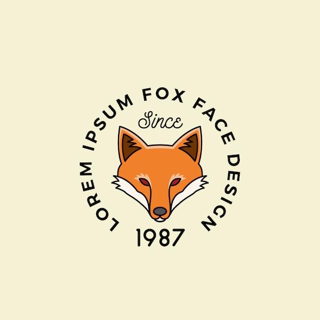 Linia Stylu Fox Face Z Retro Typografią. Premium Wektorów