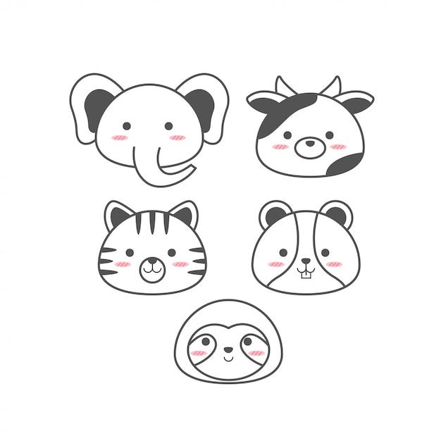 Linia zwierząt cute baby Premium Wektorów