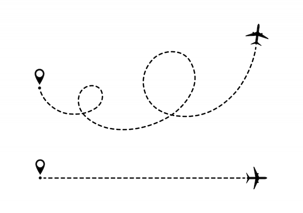 Linie Przerywane Trasy Samolotu. Premium Wektorów