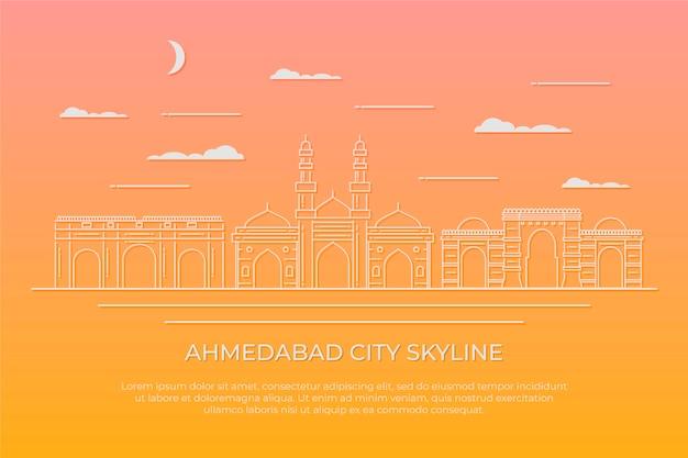 Liniowa Ilustracja Panoramę Ahmedabad Darmowych Wektorów