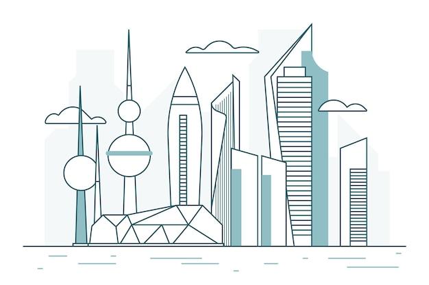Liniowa Ilustracja Panoramę Kuwejtu Darmowych Wektorów