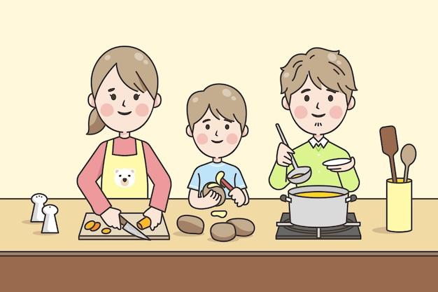 Liniowe Japońskie Gotowanie Rodzinne Darmowych Wektorów